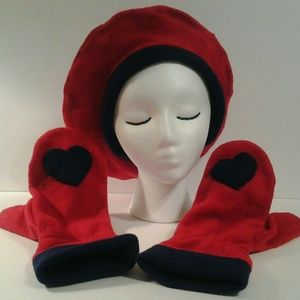 Hat Mittens Brick Red Navy Trim by have heart Dail